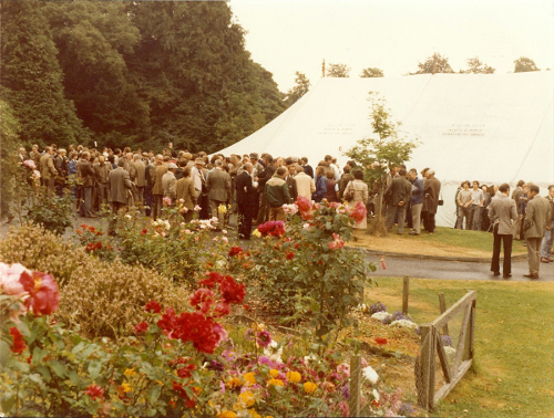 1977 Delegates on a break outside the marquee 1