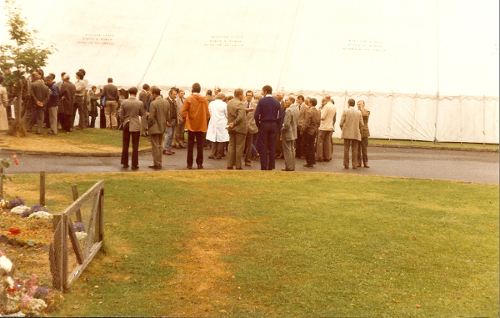 1977 Delegates on a break outside the marquee 2