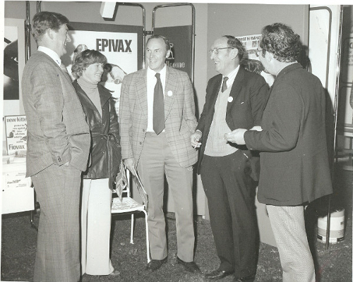 1977 L to R Bert Gamble, Wellcome Foundation, Mrs Maimie Martin, Bill Martin, Director of Moredun, Allan Watt SVS Past President, Sandy Whitelaw
