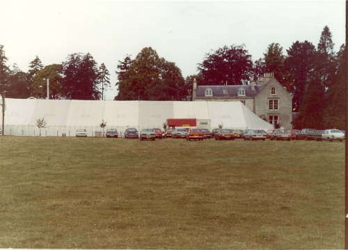 1977 The setting at St Boswells for the Sheep Fair with the Marquee and Greycrook House in the background